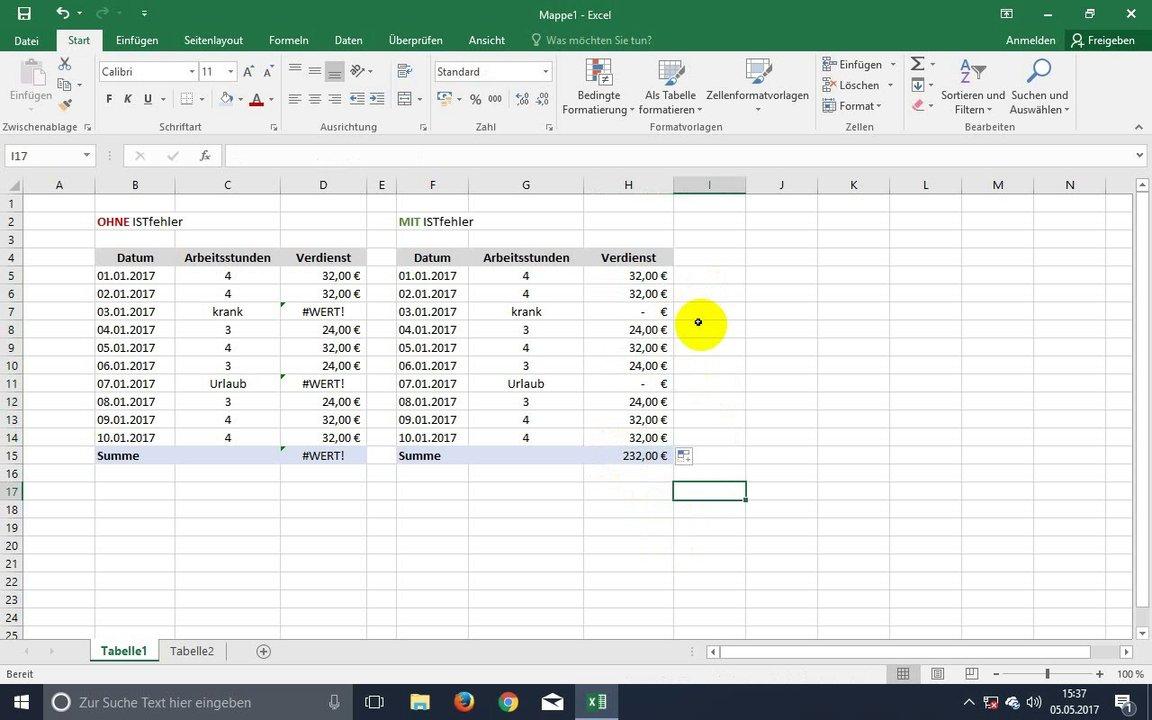 Excel ISTFEHLER anwenden Beispiel Video & Tutorial